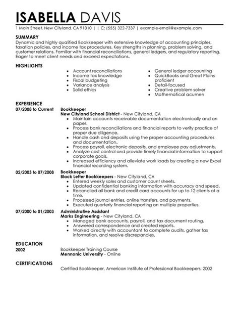 Resume Sles Bookkeeper Position Bookkeeper Resume Sle My Resume