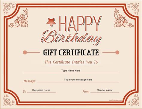 Birthday Card Gift Certificate Template by Birthday Gift Certificate Sle Templates For Word