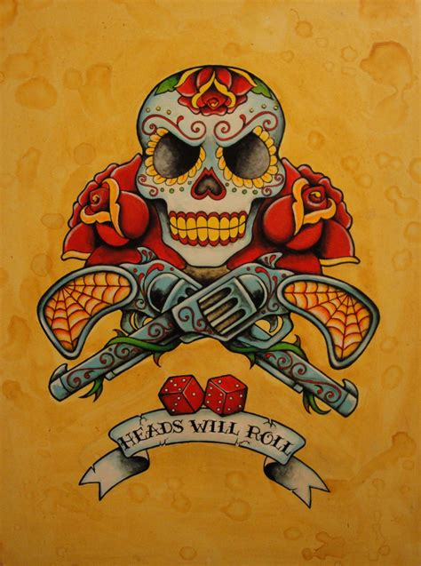 old school traditional tattoo designs day of the dead neo traditional old school tattoo by