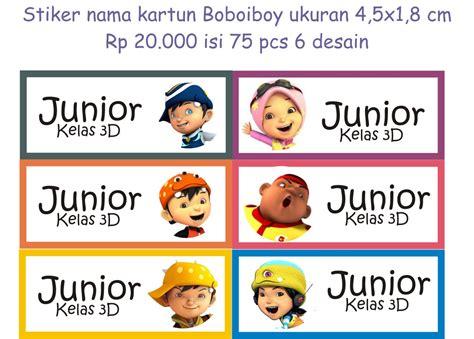 jual stiker nama anak boboiboy lucu murah unik 4 1x1 8 cm dokter stiker