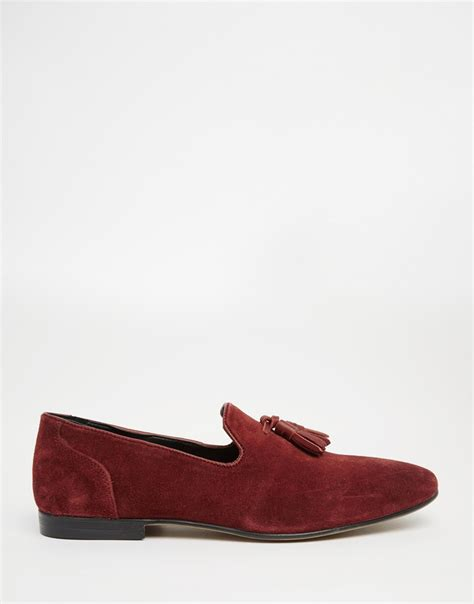 burgundy loafers for asos tassel loafers in burgundy suede in for