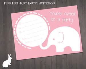free pink elephant party invitation free party
