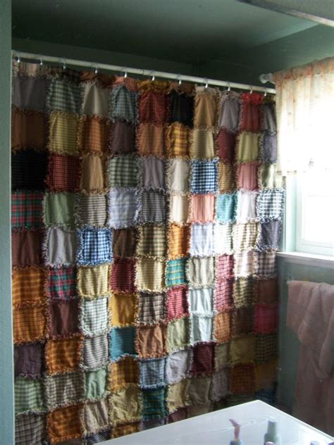 Rag style homespun shower curtain