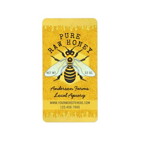 Honeybee Honey Jar Apiary Labels Honeycomb Bee Zazzle Com Honey Jar Labels Template