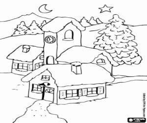 landscape of a village at christmas coloring page
