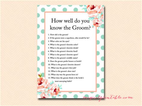 wedding shower how well do the and groom each other mint and bridal shower magical printable