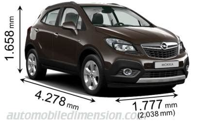 Vauxhall Mokka Dimensions Dimensions Of Opel Vauxhall Cars Showing Length Width