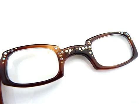 vintage chagne glasses vintage reading glasses rhinestone studded frame