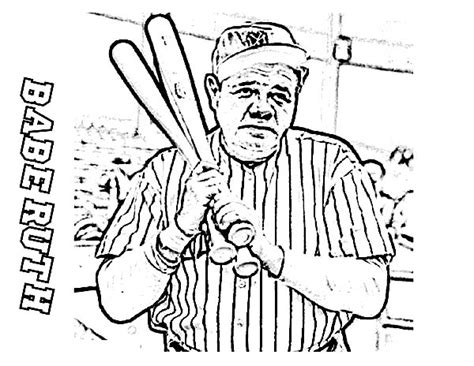 babe ruth the baseball legend in mlb coloring page