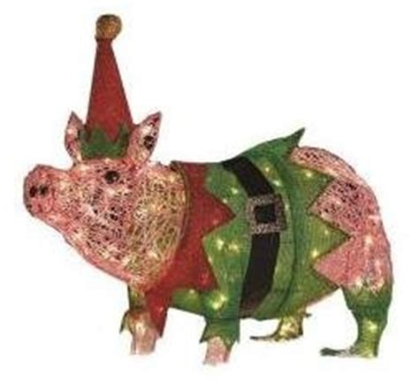 lighted pig lawn ornament christmas outdoor decorations lawn lights decor ornaments lighted pig home improvement