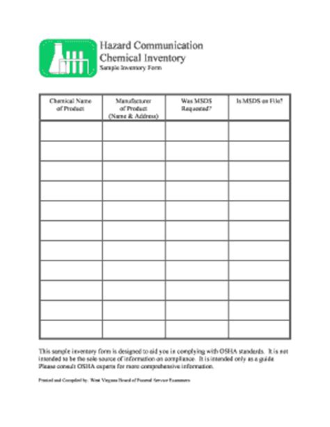 Inventory List Form Fill Online Printable Fillable Blank Pdffiller Chemical Inventory List Template