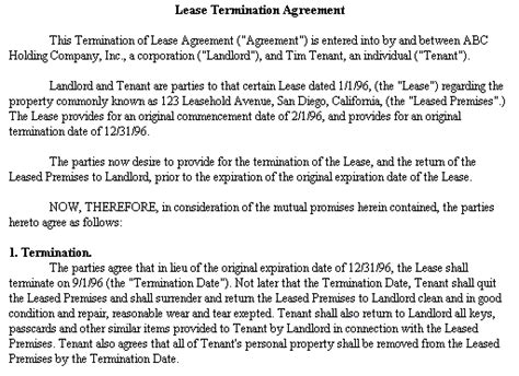 Letter Of Credit Lease Provision Ending Lease Agreement Early W O Penalty Housing Corner