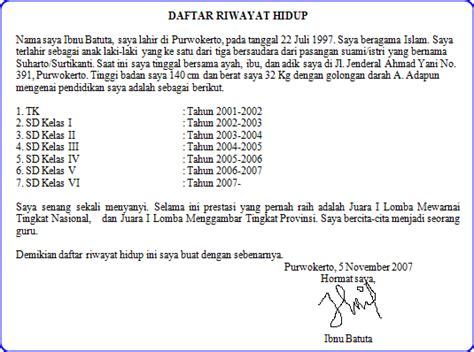 contoh daftar riwayat hidup terbaru 2012 informasi