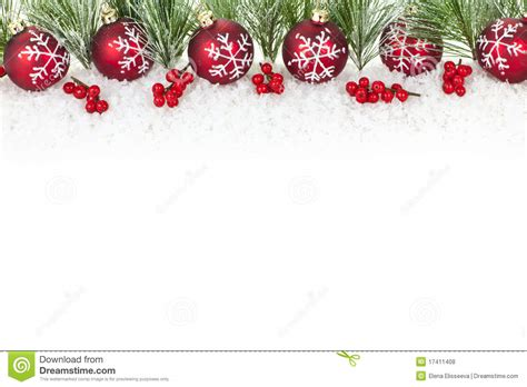 christmas border with red ornaments stock photo image