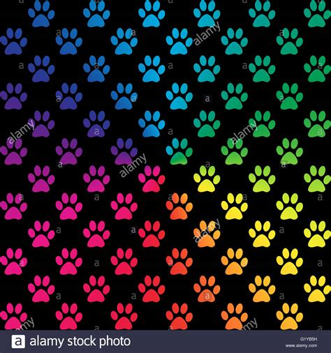 paw background paw prints in gradient rainbow colors on black background