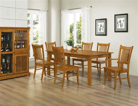 pc country mission medium brown wood dining room set