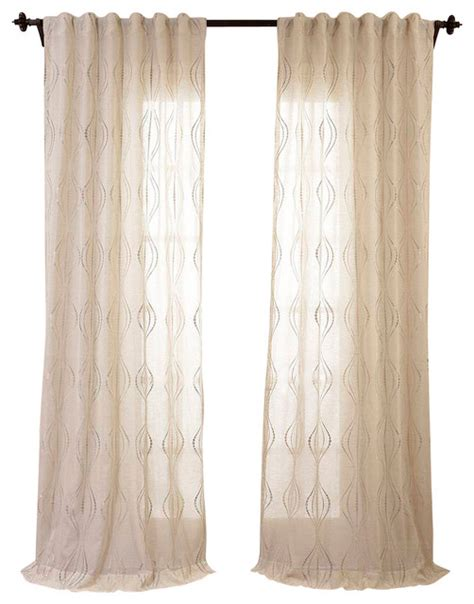 Linen Sheer Curtains Suez Embroidered Faux Linen Sheer Curtain Transitional Curtains By Half Price Drapes