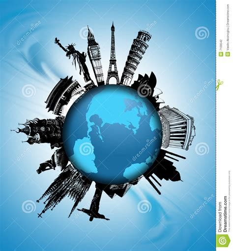 map world mouments world monuments stock illustration illustration of planet