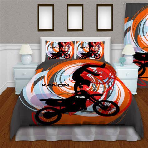 dirt bike bed set boys dirt bike orange bedding set motocross duvet cover 135 eloquent innovations