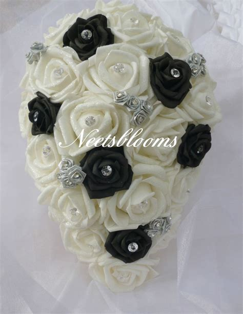 brides bridesmaids and diamante wedding bouquet black white and silver ebay