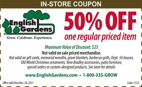 Gardens Coupon by Gardens 50 One Regular Priced Item