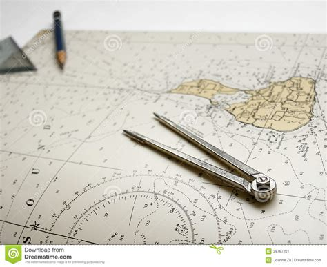 old boat navigation tools nautical chart dividers pencil stock photo image 39767201