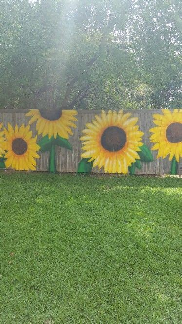 sunflowers painted   fencefun time garden mural