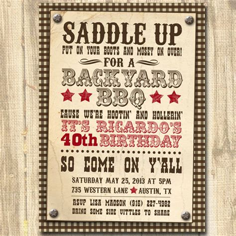 free printable western party decorations western bbq birthday printable birthday party invitation
