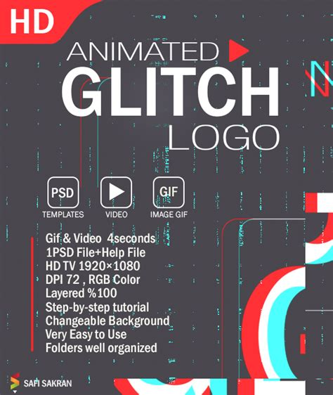 photoshop animation templates animated glitch logo photoshop template by safisakran