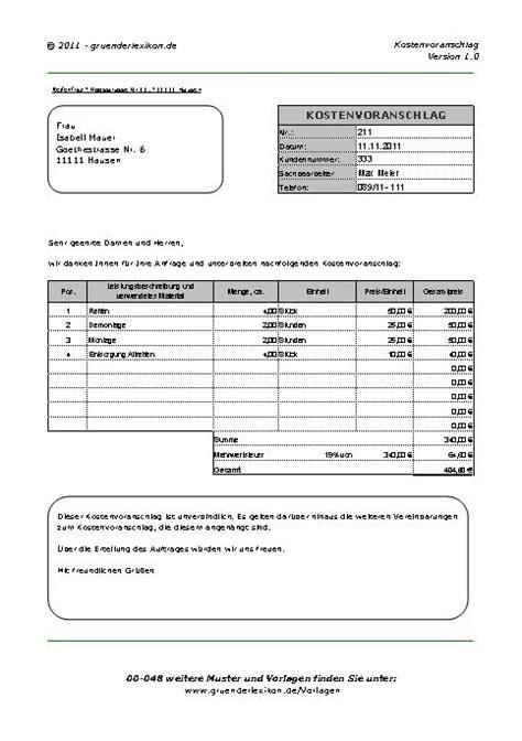 Muster Angebot Gutachten Kostenvoranschlag