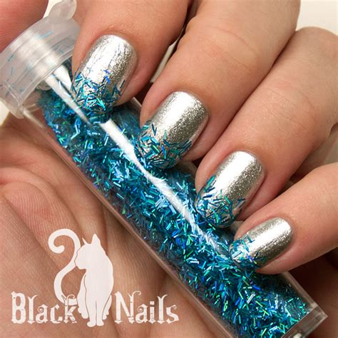 easy nail art glitter easy silver and blue winter glitter nails black cat nails