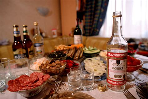Russian Table by Vodka Traditional Russian Foods On A Table During A