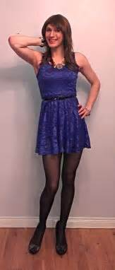 blue lace skater dress crossdresser crossdressing
