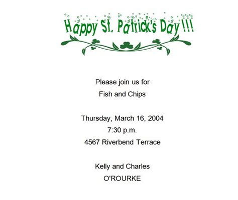 St Patricks Day Invitations 2 Free Wording Theroyalstore St S Day Invitation Template