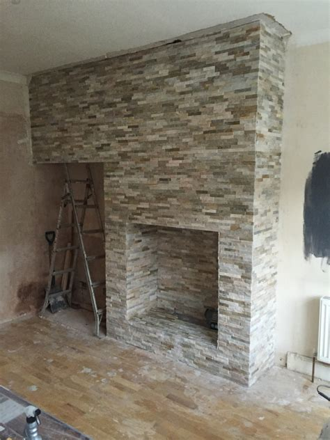 oyster slate tiled fireplace installed cleaned and