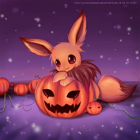 halloween themes anime eevee s pumpkin field by sunshineikimaru on deviantart
