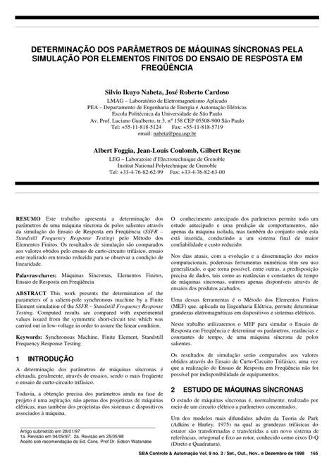(PDF) DETERMINAÇÃO DOS PARÂMETROS DE MÁQUINAS SÍNCRONAS
