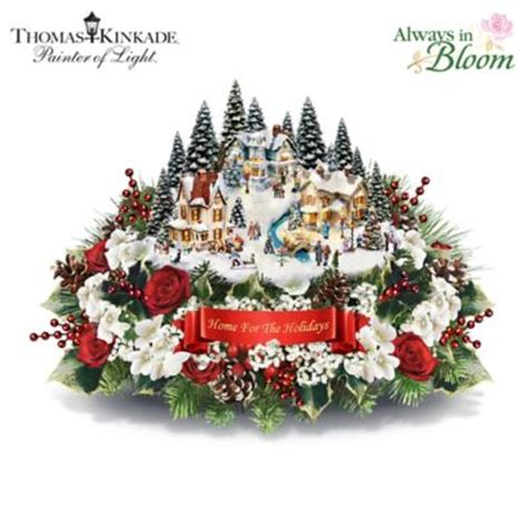 thomas kinkade always in bloom home for the holidays table