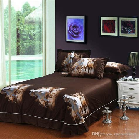 horse comforter sets queen oil painting galloping horse egyptian cotton bedding