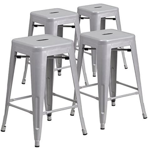 unique bar stool with ivy cap seating picciotto bar flash furniture 4 pk 24 high backless silver metal