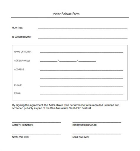10 Sle Actor Release Forms To Download Sle Templates Squarespace Actor Template