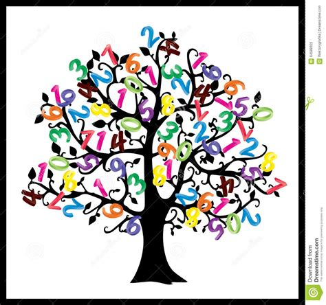 clipart matematica math tree digits illustration isolated on white
