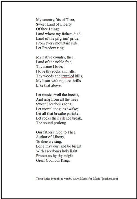 Printable Lyrics My Country Tis Of Thee | my country tis of thee america free for early