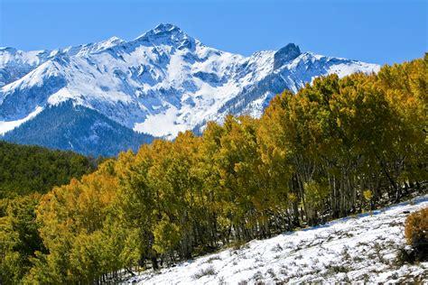 colorado mountain aspens and sharp peaks are found in quintessential rocky mountain scenery colorado