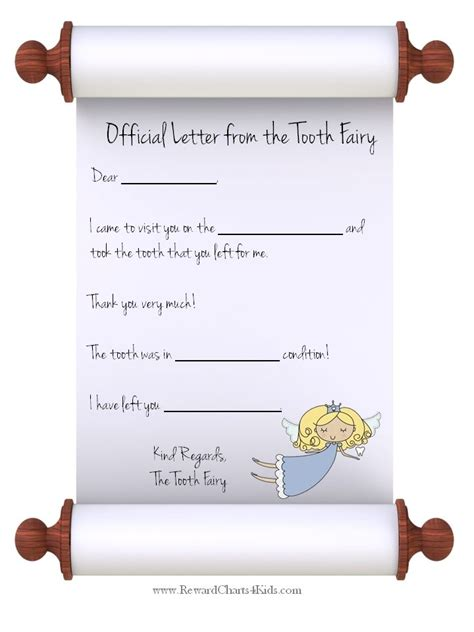 free coloring pages of tooth fairy letter