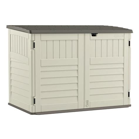 suncast outdoor storage cabinet suncast stow away 3 ft 8 in x 5 ft 11 in resin