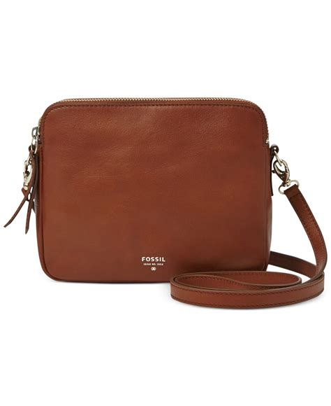 brown leather crossbody fossil sydney leather crossbody in brown lyst