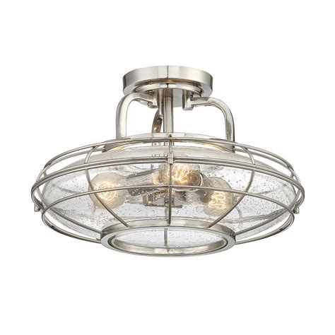flush mount ceiling light seeded glass cambridge 2 light brushed nickel semi flushmount cli