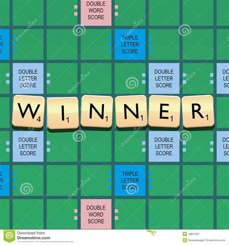 scrabble word de gagnant de scrabble photographie stock libre de droits