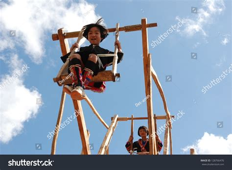 local swing chiang rai thailand dec 30 unidentified akha girl on